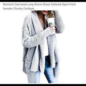 Women's Oversized Gray Sweater-brand new